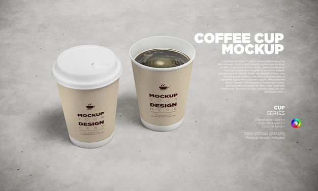 Disposable coffee cups label mockup with open and close lid