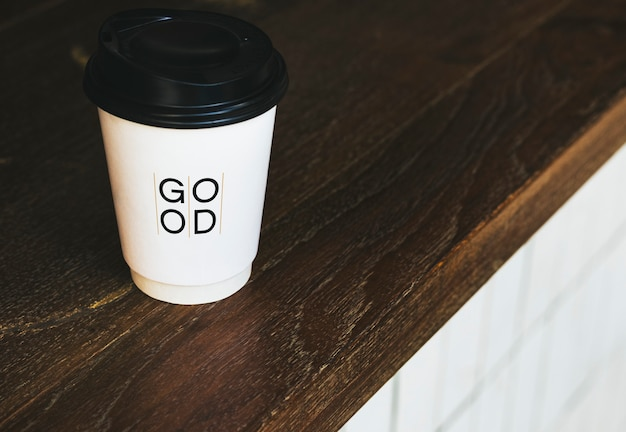 Disposable coffee paper cup mockup design