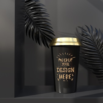 Disposable plastic coffee cup packaging. package for branding and identity. ready for your design