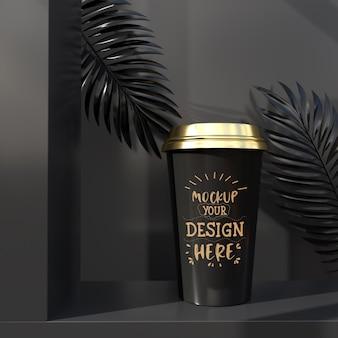 일회용 플라스틱 커피 컵 포장. 브랜딩 및 아이덴티티를위한 패키지입니다. 디자인 준비