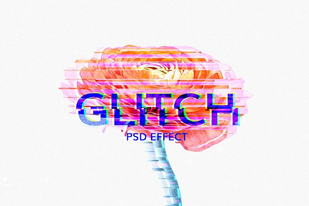 Distorted glitch editable text effect template psd
