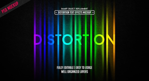 Distortion text effect template