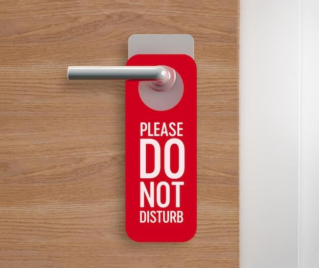 Do not disturb, door hanger at the door. 3d rendering