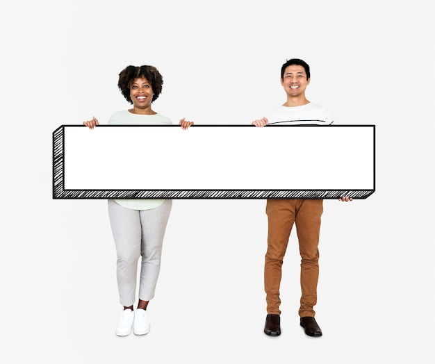 Diverse people holding an empty board