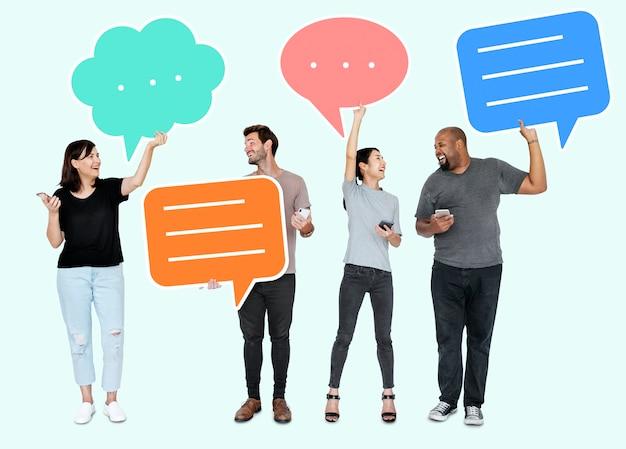 Diverse social media people holding speech bubble symbols