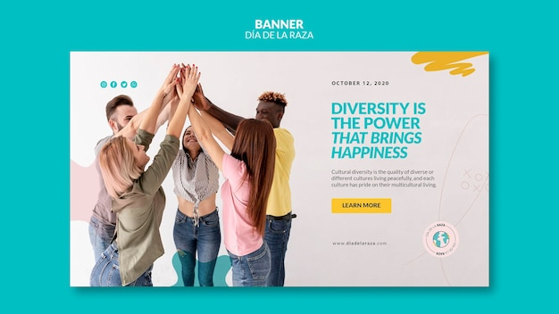 Diversity brings happiness banner template