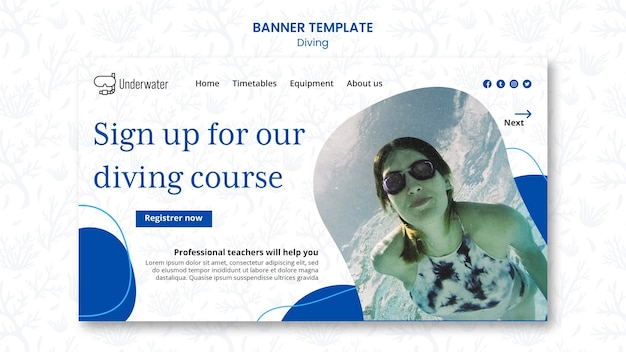 Diving concept banner template