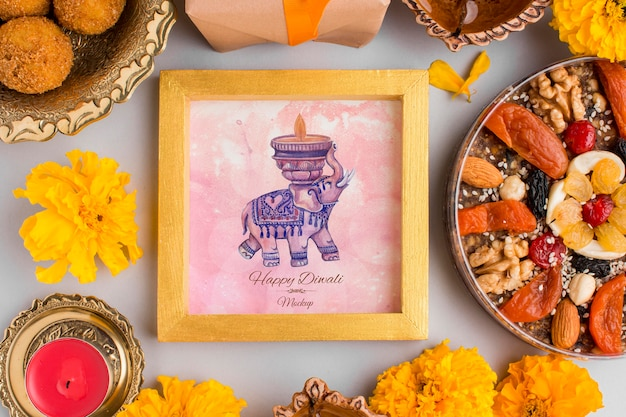Фестиваль дивали, праздничная рамка, макет слона