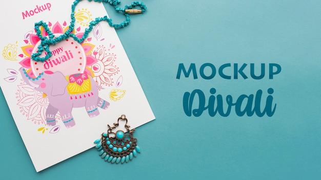 Elefante di mock-up minimalista di festa di diwali festival