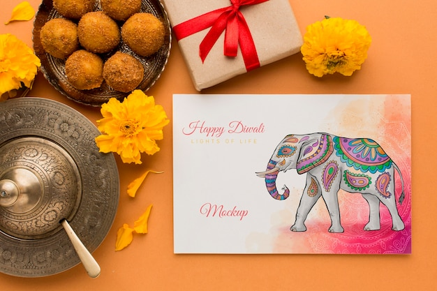 Diwali festival holiday mock-up elephant and gift box