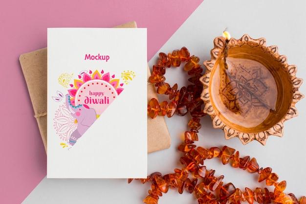 Elefante e gioielli di mock-up di festa di diwali festival