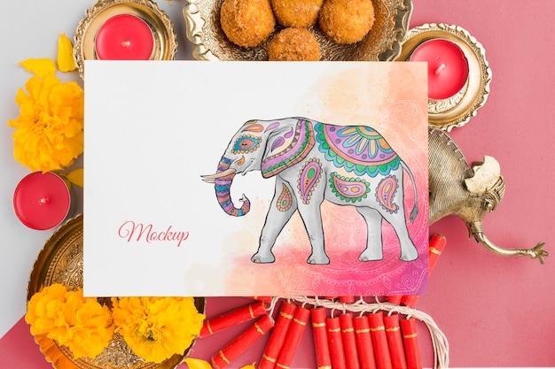 Vista dall'alto dell'elefante di mock-up di festa di diwali festival