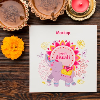 Diwali festival holiday mock-up flat lay