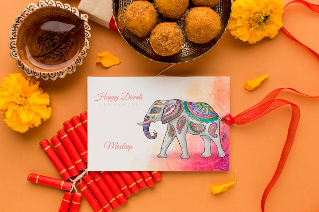 Diwali festival mock-up elephant drawing card with ribbon