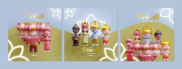 Diwali social media feed template with 3d rendering illustration of characters in diwali story
