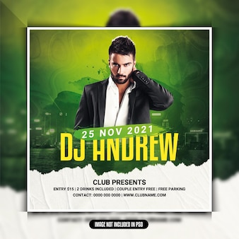 Dj club party flyer or social media post
