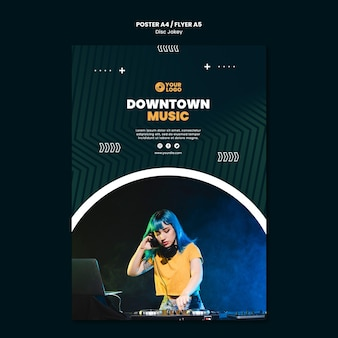 Dj downtown music flyer template
