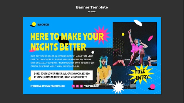 Dj music banner template