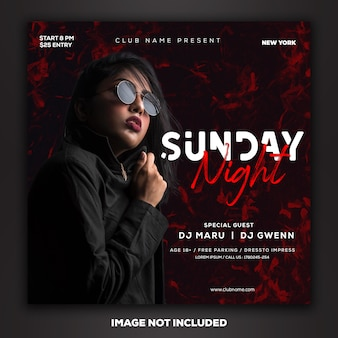 Dj music party social media post template