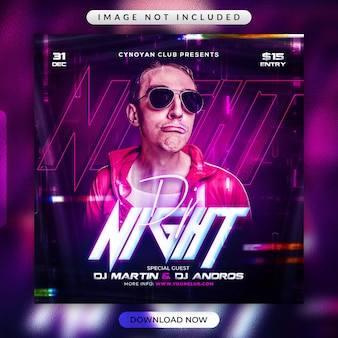 Dj night party flyer or social media promotional template