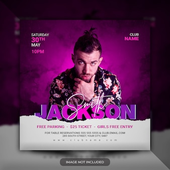 Dj party event flyer template social media poster