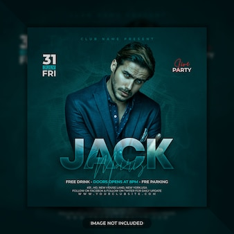 Dj party flyer or poster template premium psd