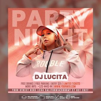 Шаблон сообщения в социальных сетях dj party flyer premium psd