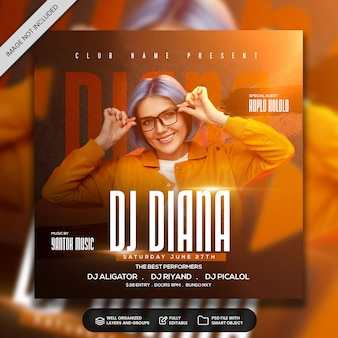 Dj party flyer template social media