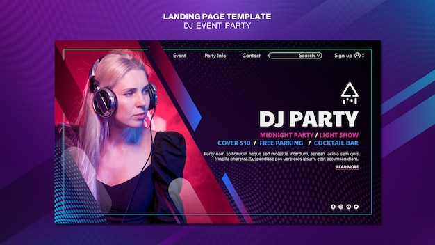 Dj party woman with headphones landing page