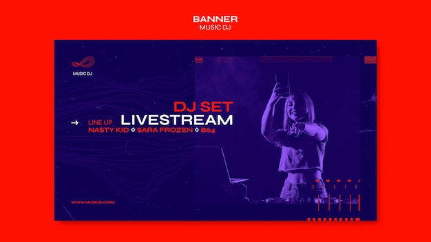 Dj set livestream banner template