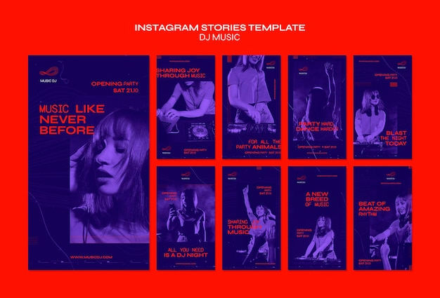 Dj set livestream instagram stories template