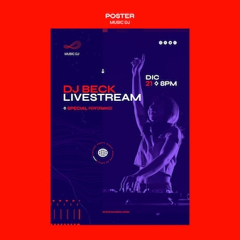 Dj set livestream poster template