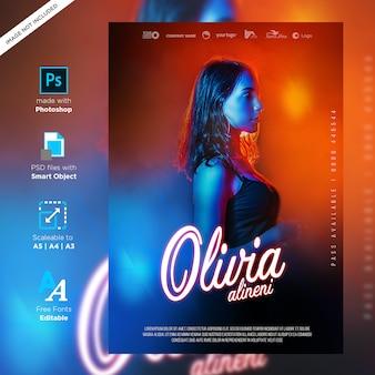 Djパーティークラブクリエイティブポスターデザイン印刷準備ができて