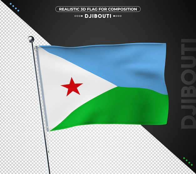 Djibouti flag with realistic texture