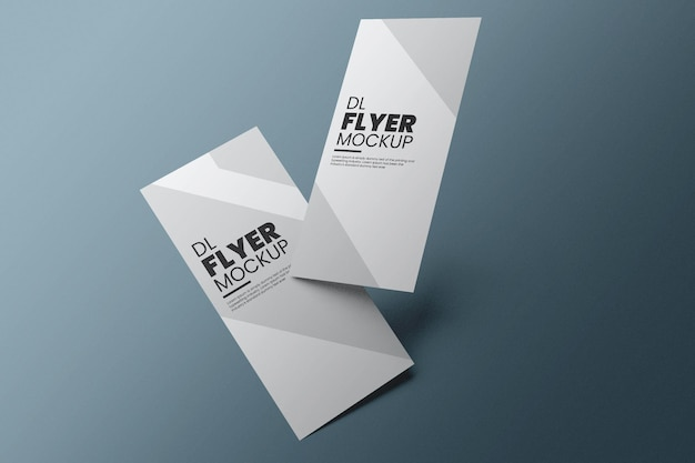 Dl flyer mockup design in 3d rendering Premium Psd
