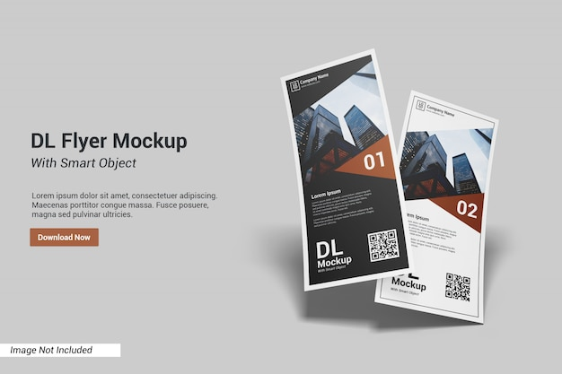 Dl flyer mockup with text template
