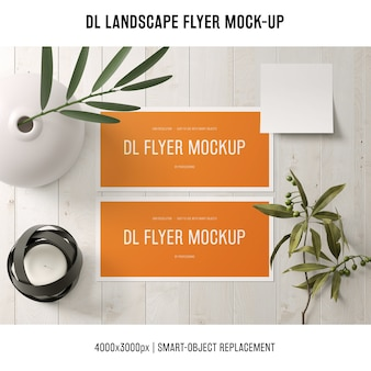 Dl landscape flyer mockup with plants