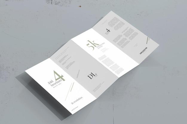 Мокап брошюры, сложенной в четыре раза, размер dl