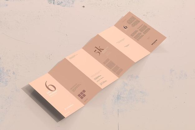 Dlサイズ6つ折りパンフレットのモックアップ