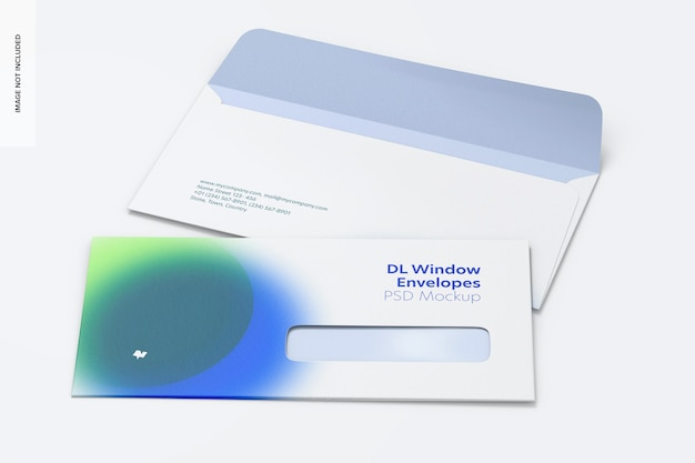Dl window envelopes mockup perspective