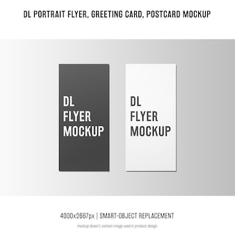 Dlポートレートチラシ、ポストカード、グリーティングカードのモックアップ