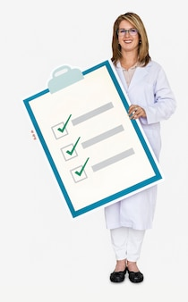 Doctor holding a health check list