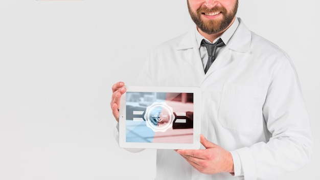 Doctor holding tablet mockup for labor day