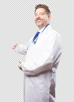 Доктор человек делает приветственный жест