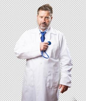 白い背景の上の医者男