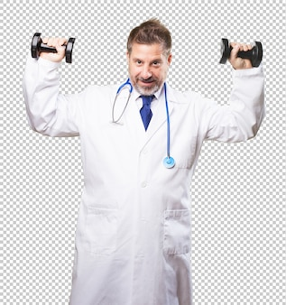 Doctor man with dumbbell