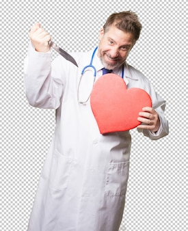 Doctor man with a heart