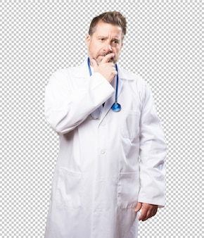 Doctor man worried on white