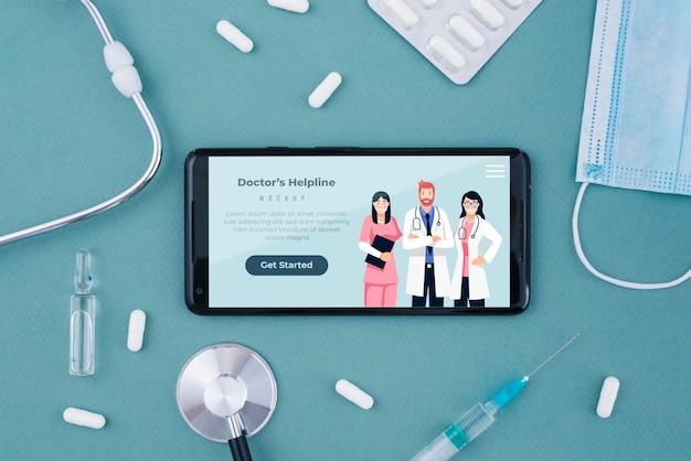 Pagina di destinazione della linea di assistenza del medico sullo smartphone