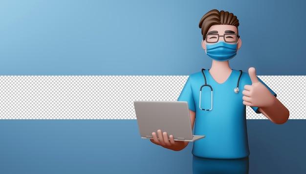 Доктор носить маску палец вверх с ноутбуком 3d-рендеринга